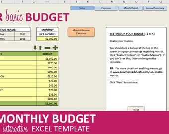Budget templates etsy super basic budget monthly budget planner excel template budget spreadsheet savings and expenses pronofoot35fo Gallery