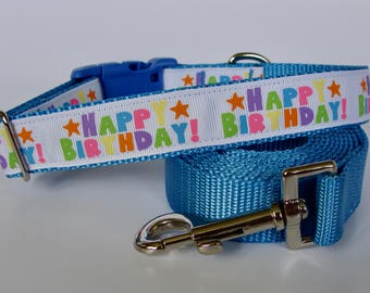 Happy Birthday Party Dog Collar - Blue