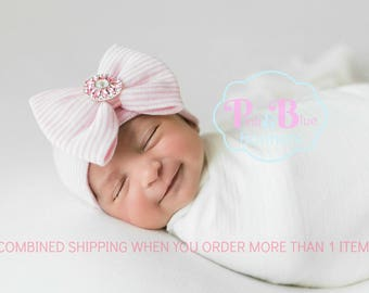 Baby girl hospital outfit, Newborn girl hospital hat with bow, Coming home outfit baby girl, Newborn girl hospital outfit