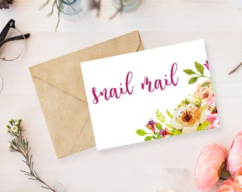 Snail Mail Floral Stationary Cards | Notecards | Envelopes Included