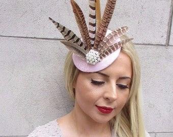 Light Blush Pink Pheasant Statement Feather Fascinator Pillbox Races Hat 3167