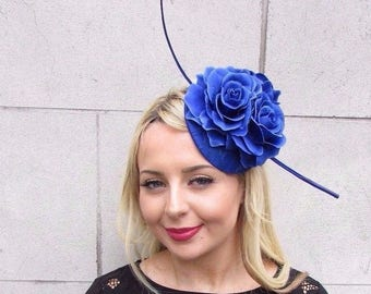 Royal Blue Rose Quill Feather Flower Fascinator Hat Hair Clip Races Wedding 3356