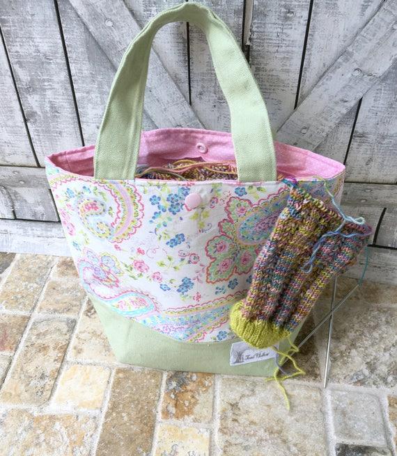 Mini Tote Bag-Pastel Paisley Fabric Knitting Bag,Sock Tote Bag,Floral Project Tote Bag,Crochet Project,Knitting Project Bag,Toad Hollow bags