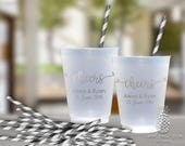 Cheers Wedding   Customizable Frosted Plastic Cups   Engagement Bridal Parties, Weddings or Shower   social graces and Co