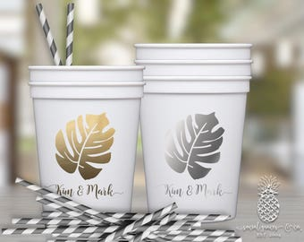 Tropical Palm Leaf | Customizable Wedding Party Favor Cups | social graces and Co