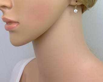 Small 14Kt gold-filled cubic zirconia earrings; simple gold drop earrings; gold cubic zirconia drop earrings