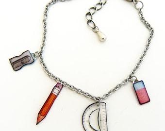 "Adjustable bracelet ""small school supplies"""