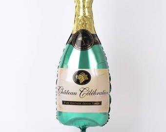 "Giant Champagne Bottle Balloon - 36"" Balloon - NYE Party Decor - Champagne Campaign Decor - Bachelorette Party Balloon - Engagement Balloon"