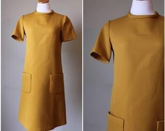 1960s Mustard Mod Mini Dress
