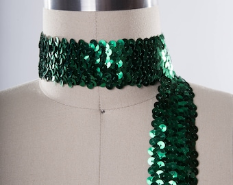 Emerald Green Stretch Sequin Ribbon Trim/ Poison Ivy Costume Sequin/ Crafting Trimming/