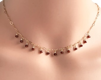 Dainty Gold Choker Necklace - Garnet Necklaces for Women - January Birthstone Necklace - Garnet Necklace - Sterling Silver - Gold