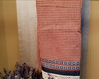 Embellished Hand Towel, Red White Gingham Towel, House Warming Gift, Kitchen Towel, Decorated Hand Towel, One of a Kind, MarjorieMae
