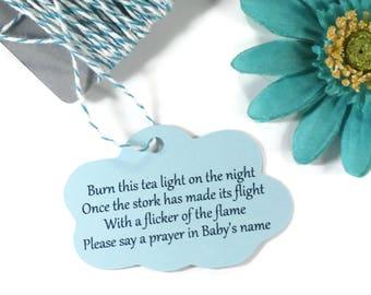 Cloud Themed Baby Shower Tags 20pc -  Custom Light Blue Favor Tags - Baby Boy Sprinkle - Burn This Light - Stork Poem - Prayer