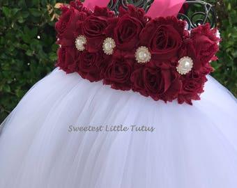 Burgundy and White or Ivory Flower Girl Tutu Dress/ Burgundy Flower Girl Dress/Maroon Flower Girl Dress/ Wine Flower Girl Dress