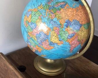 Vintage CRAM'S IMPERIAL WORLD Globe, Vintage World Globe 1970s 1980s, George Cram Co., Metal Stand