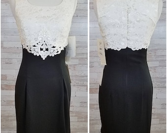 Short black formal dress with white lace top - Small