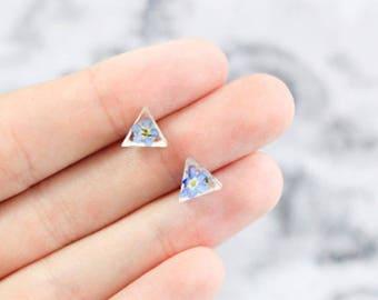 tiny stud earrings triangular jewelry minimalist ear studs simple small earrings terrarium jewelry gifts mother minimal earrings bloom сп1