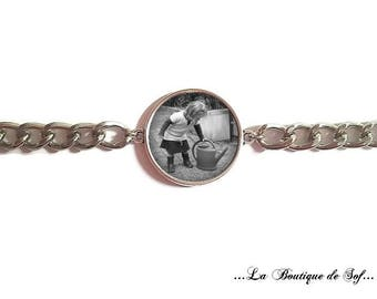 To personalize: cabochon 25 mm stainless steel chain Bracelet