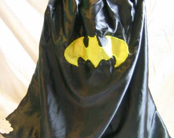 Black and yellow bat superhero cape, dark knight, costume, mask, batman, christmas, birthday, dress up fun, adults can be super too