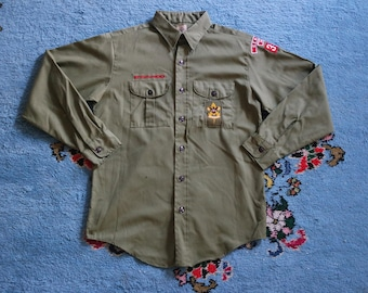 Vintage 1960s Boy Scout Shirt - Olive Green Button Up