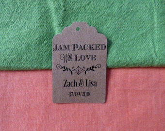 KRAFT Jam packed with love. Personalized Favor Tags. Jam Wedding Favor Tags. Jam Labels. Kraft Jam Labels. Set of 25 to 300 pieces