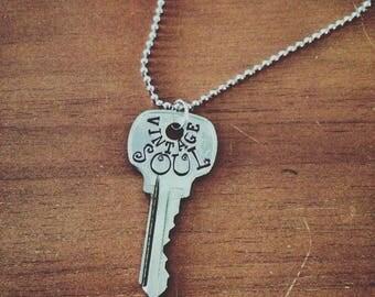 Vintage Soul, Key Pendant Necklace, Hand Stamped