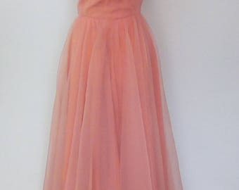 Vintage dress 50s peachy pink evening dress ball gown bridesmaid dress size small