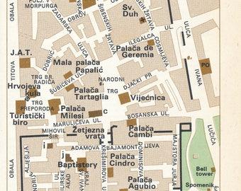 1969 Split Croatia Vintage Map
