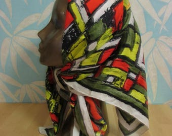 1950s/60s brightly coloured brushstroke-effect abstract pattern ladies scarf