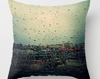 Rain throw pillow cover, throw pillow cover, decorative pillow, designer pillow cover