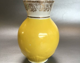 "Antique Victoria C & H Tunstall 5"" Yellow English Pottery Vase Vintage"