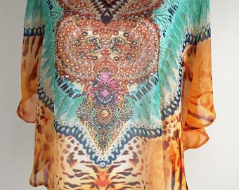 Poncho, Apricot, Aqua, Gypsy chic, Top, Kaftan Top, festival clothing, caftan, Cover Up, Gift