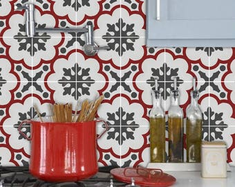 Kitchen and Bathroom Splashback - Removable Vinyl Wallpaper - Genova Rouge - Peel & Stick