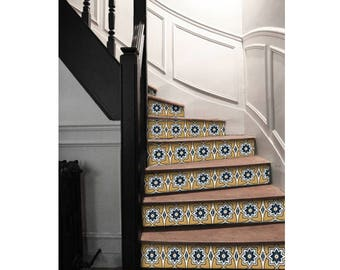 "Stair Riser Stickers - Removable Stair Riser Vinyl Decals - Sierra Pack of 6 in Ochre - Peel & Stick Stair Riser Deco Strips - 48"" long"