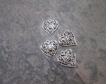 Filigree Heart Charms package of 4 with antique silver finish Great quality cut out heart charms perfect size for Adjustable Bangles