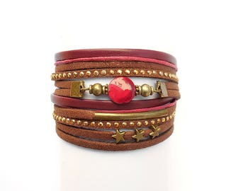 multi links red suede leather bracelet Brown