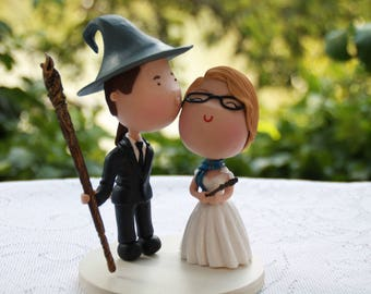 Witch and Wizard. Harry Potter/Lord of the Rings custom cake topper. Wedding figurine.  Handmade. Fully customizable.