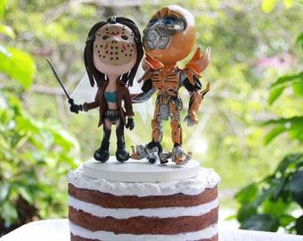 Halloween Couple, Jason Bride, Bumblebee groom. Wedding figurine. Bride and Groom. Handmade. Fully customizable. Unique keepsake