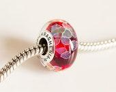 Lampwork Red bead. Glass Charm bead. Silver cored bead. Large hole lampwork bead, Fits Pandora, European Beads. Slider beads Heady glass BHB