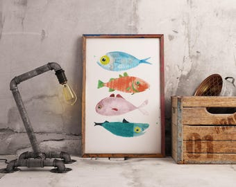 Fishes - A4/A5 PRINT of watercolour illustration