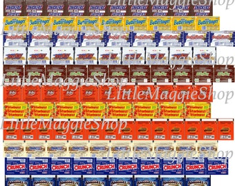 Dollhouse miniature chocolate bars packaging - Crunch, Almondy, Snickers, KitKat and many other PRINTABLE Sheet.