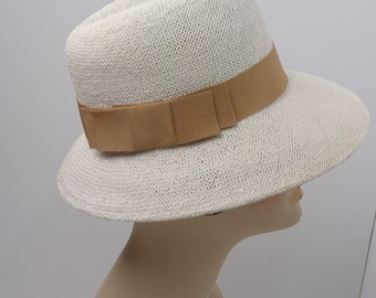 "Women's Fedora Straw Off White Camel Ribbon 3"" Brim Small Size Spring Summer Hat"