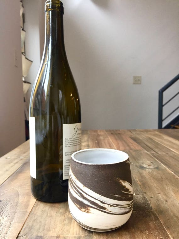 Ceramic wine glasses- marble clay- brown and white- functional cup