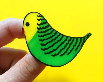 Handmade Parakeet Brooch