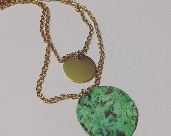 Double chain gold circle and patina necklace