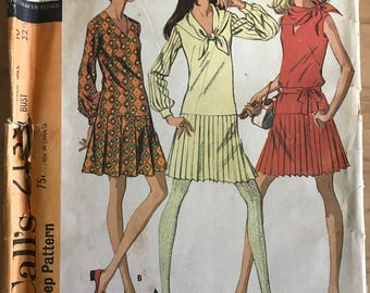 McCalls 2139 - 1960s Drop Waist Dress with Accordian Pleated Skirt in Above Knee Length - Size 10 Bust 32.5
