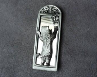 AJC Cat Brooch, Vintage Cat Pin Brooch, Cat with Mirror Brooch, Pewter Cat Brooch, Signed AJC Brooch, Cat Lovers Gift