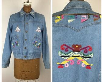 Vintage 70s Jacket / 1970s Embroidered Denim Jacket / Medium