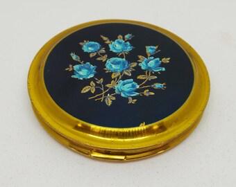 Vintage powder compact - Blue rose design
