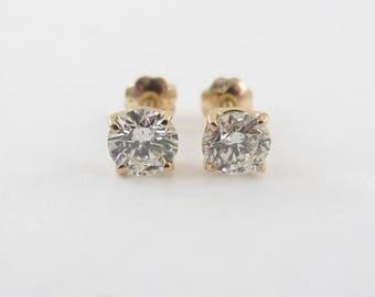 14k Yellow Gold Screw Backs Diamond Stud Earrings 1.15 carats